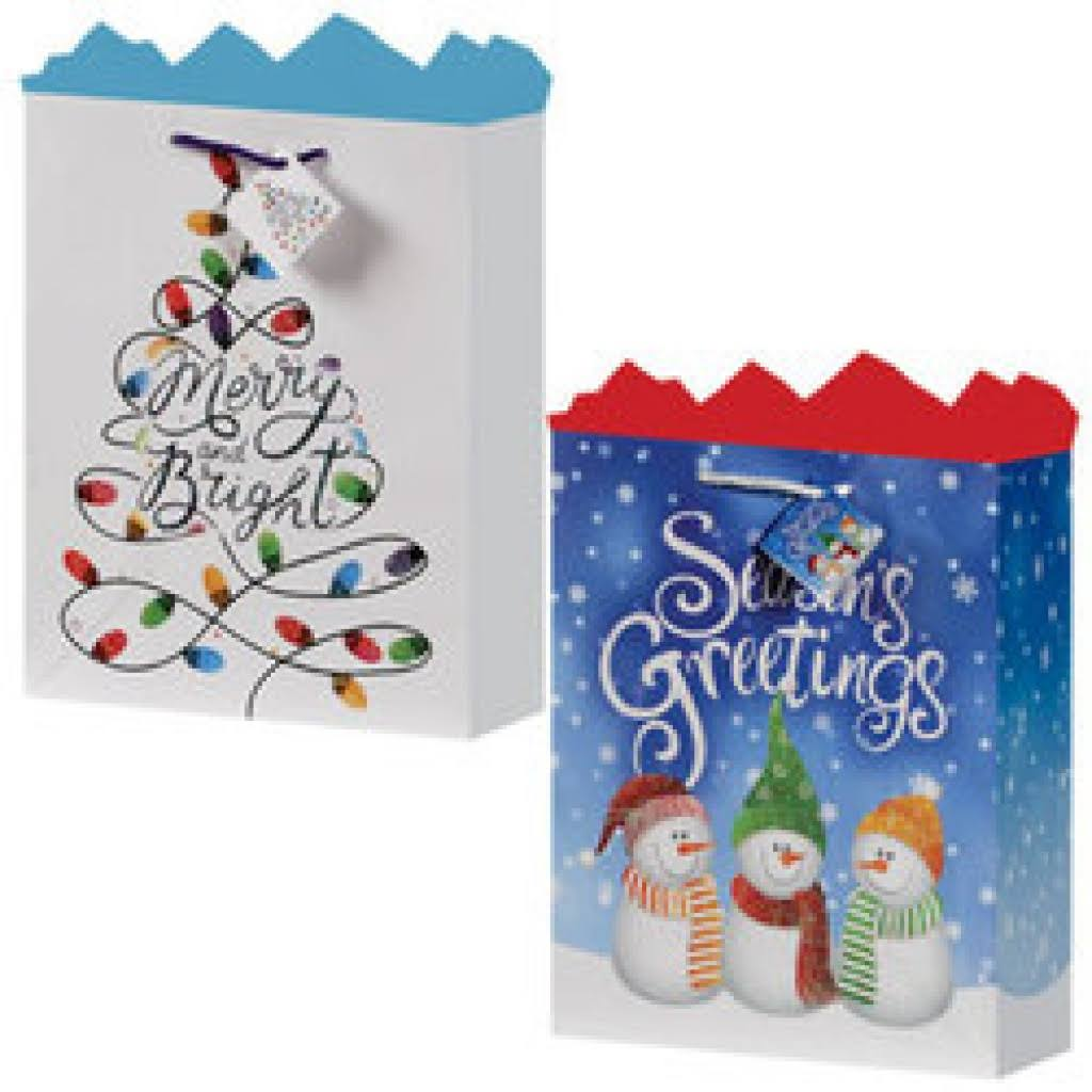 Axiom 2124794 Christmas Cheer Medium Gift Bag - 2 Assorted Case of 24
