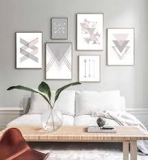 rosa grau pfeil geometrische abstrakte kunst poster nordic leinwand druck einfachheit malerei wand bild für wohnzimmer dekoration