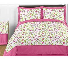 Amazon Pink and Green Circles Childrens Bedding 4 Piece Girl