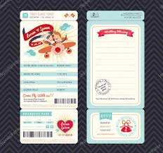Cartoon Boarding Pass Ticket Wedding Invitation Template Vector Stock 48843235