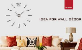 Vangold Modern DIY Wall Clock Large Frameless 3D Mirror Stickers Silent Home Living Room Office Decor