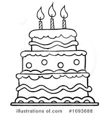 Monochrome clipart birthday cake 12