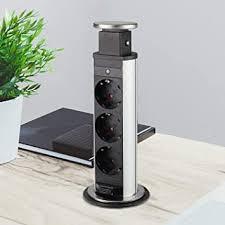 versenkbare steckdose für küche und büro tischsteckdose aus hochwertigem kunststoff mit drei steckdosenelementen ca 170cm langes anschlusskabel