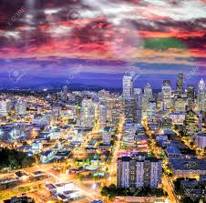 100 Beautiful Seattle Pictures Aerial View At Dusk In Washington Stock Photo