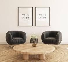 wohnzimmer mit sofa und büchern dekoriert kostenlose psd datei