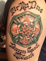 Celtic Firefighter Maltese Cross Tattoo Chest And Shoulder