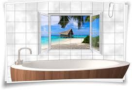 fliesenaufkleber fliesenbild fenster meer strand strandhütte urlaub bad wc fliesen deko