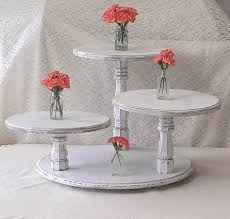 Shabby Chic CupCake Stand Cup Cake Table Tower Display White Round Rustic Wedding Dessert