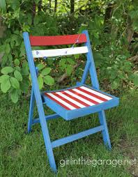 white and blue patriotic chair makeover in the garage