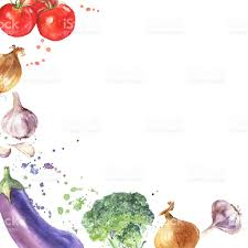 Watercolor hand drawn ve ables Eco food background royalty free watercolor hand drawn ve ables eco