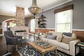 Fabulous Rustic Modern Farmhouse Living Room With Brick Fireplace
