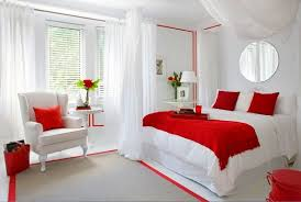 Romantic White Red Bedroom Decor For Couples