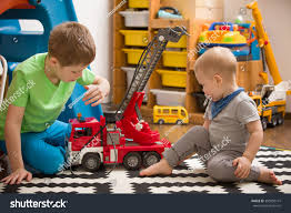 Siblings Boys Playing Toy Fire Truck Stock Photo (Edit Now ...