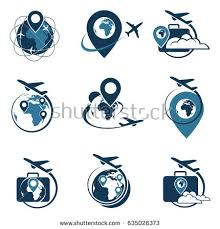 Travel Logo Set With Suitcase And Airplane Vector Illustration
