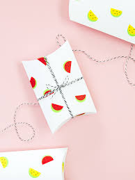 DIY Watermelon Print Gift Boxes With Office Labels
