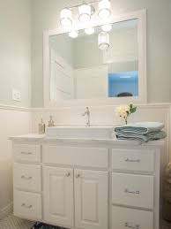 L Shaped Bathroom Vanity Ideas by White Straight Profile Line Beadboard Combined With Gray Painted