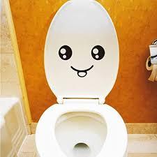 aufkleber smiley für wc deckel ohne kleber entfernbar witzige dekoration fürs badezimmer