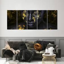 mund schwarz gold leinwand deko bild abstrakt frau wandbild