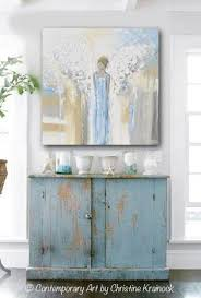 GICLEE PRINT Abstract Angel Painting Guardian Fine Art Wings Blue White Grey Gold Home Decor Wall