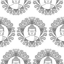 Black And White Coloring Page Seamless Pattern Of Buddha Head With Lotus Decoration Wallpaper Tattoo Textile Print