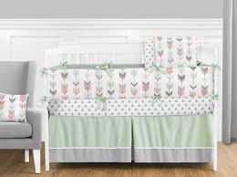 Woodland Crib Bedding Sets by Amazon Com Grey Coral And Mint Woodland Arrow 9 Piece Crib Bed