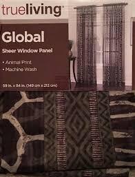 Pair True Living Global Sheer Window Panel 59in X 84in Animal