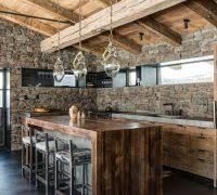 Rustic Bar Lighting Ideas Kitchen With Reclaimed Oak Exposed Stone