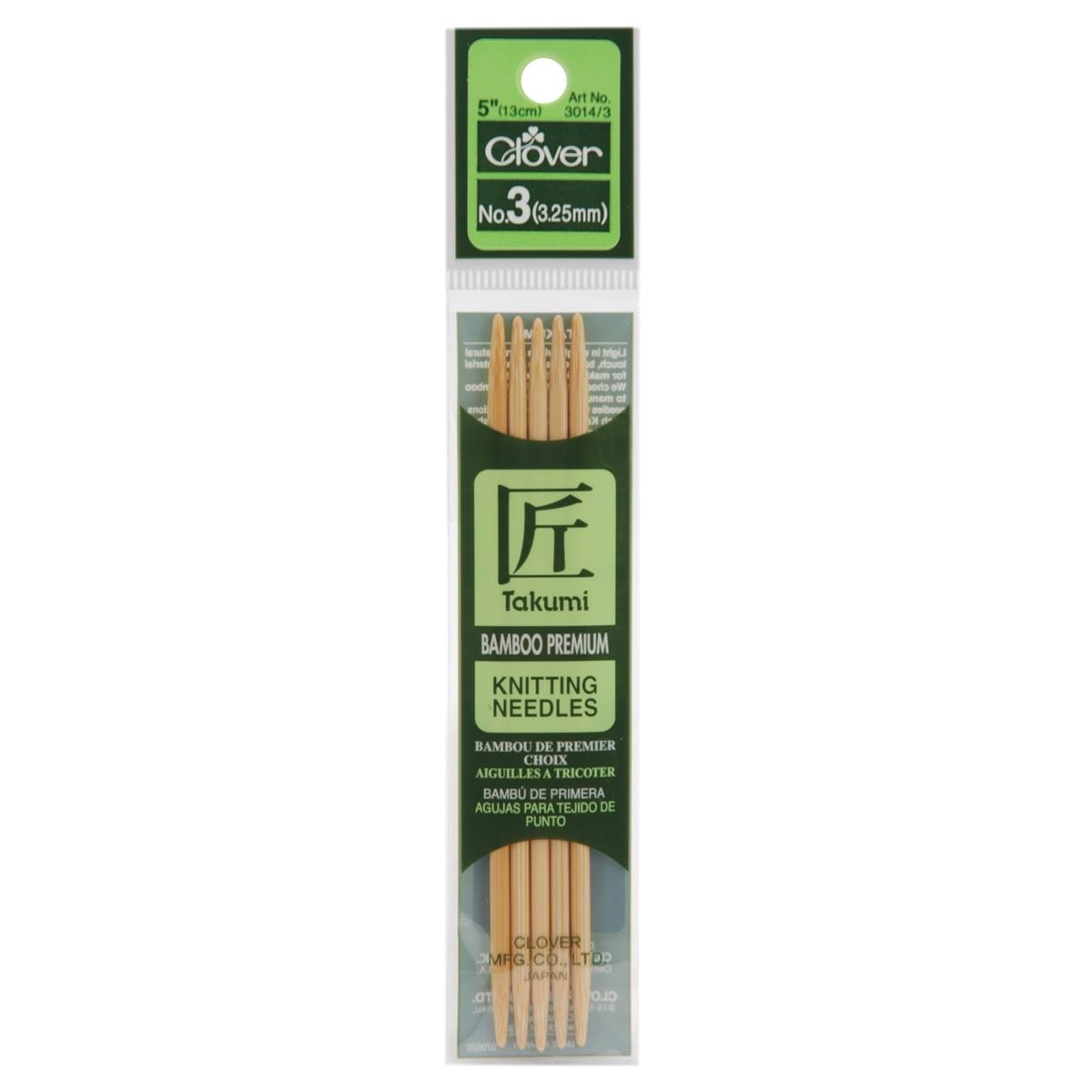 "Clover Bamboo Double Point Knitting Needles 5"" 5/Pkg - Size 3"