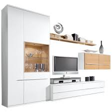 loddenkemper kito wohnwand 9784 in lack weiß mit absetzung in eiche struktur furnier für wohnzimmer mit vitrine unterteil hängeschrank und wandboard
