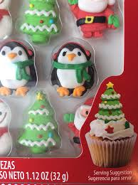 Get Quotations Snowman Christmas Tree And Penquins Cupcake Toppers Icing Decorations 8 Pieces