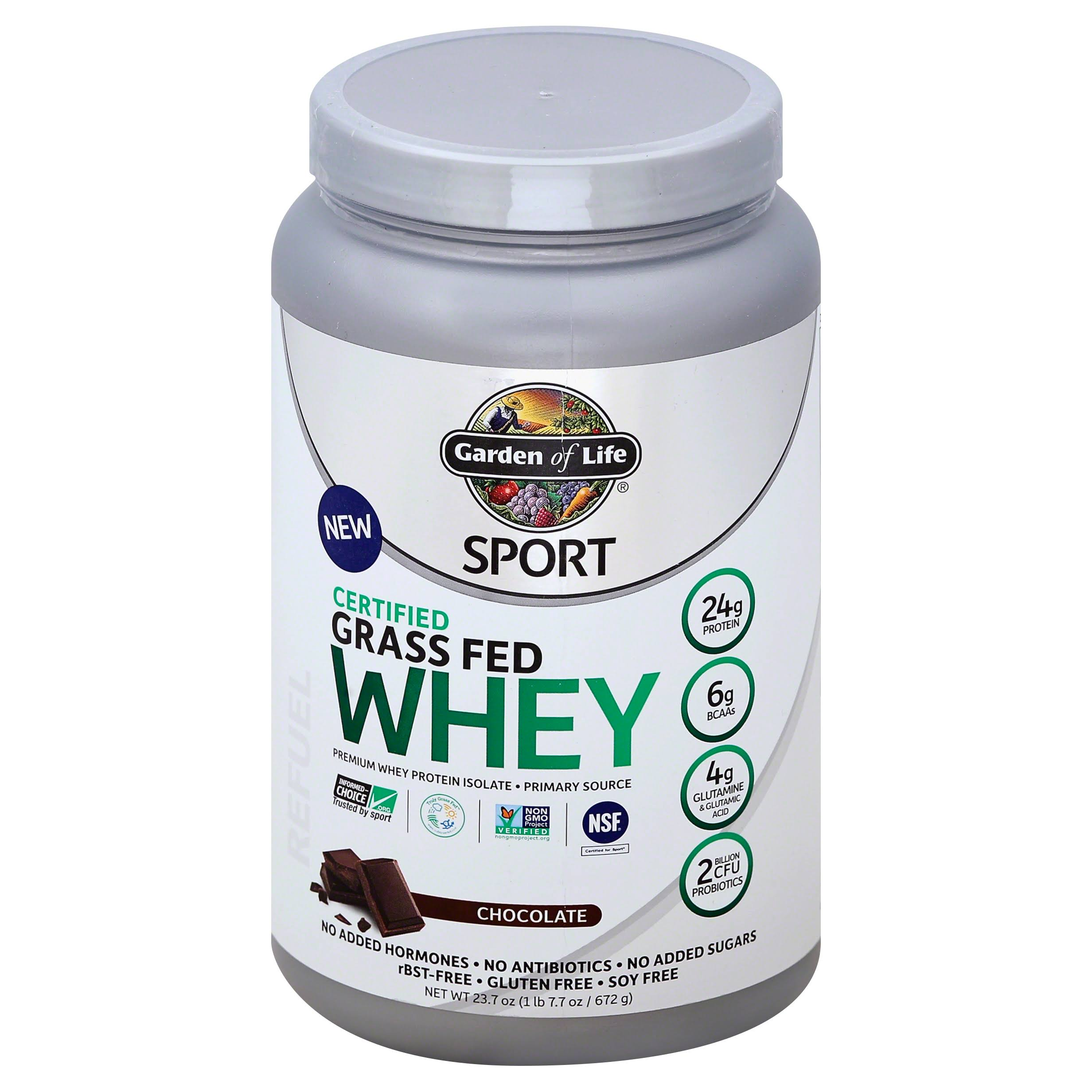 Garden of Life Sport Certified Grass Fed Whey Protein Isolate - Chocolate, 672g