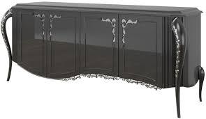 casa padrino luxus barock sideboard schwarz silber 218 x 56 x h 94 cm edler wohnzimmer schrank mit 4 türen barock möbel