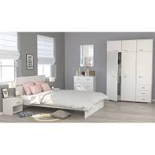 schlafzimmer mit bett 140cm nachtkommode kleiderschrank und kommode weiß mö24