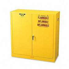 Justrite Flammable Cabinet 45 Gallon by Justrite Manufacturing 893000 Yellow 18 Gauge Cr Steel Sure Grip