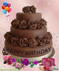 Chocolate Happy Birthday Cake Gif