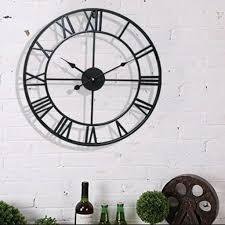 runde wanduhr wohnzimmer uhr designuhr römischen ziffern dekouhr vintage 40cm schwarz