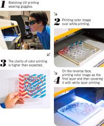 Watching UV Printing Wearing Goggles 2Printing Color Image Over White