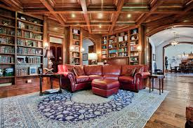 Red Leather Couch Living Room Traditional With Archway Area Rug Built In