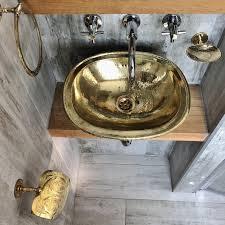 30x38cm évier marocain martelé couleur or en laiton 30x38cm