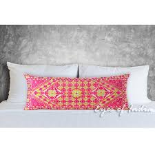 Pink Decorative Embroidered Swati Bolster Long Lumbar Pillow Couch
