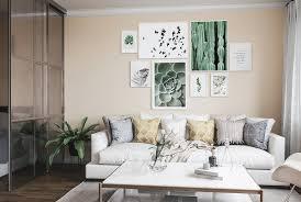 gelbe wand wohnzimmer bilderwand nordipo