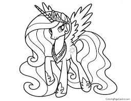 Drawing My Little Pony Coloring Pages Princess Celestia In A Dress With Stickers