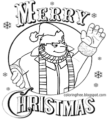 Coloring Pages Minion Cartoons Printable Throughout Christmas