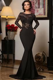 elegant party sheer lace long sleeve evening dress women black
