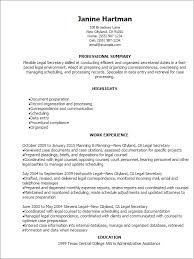 Legal Secretary Resume Examples And Great