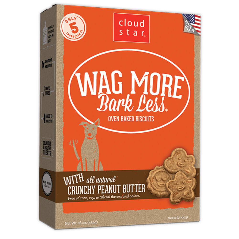 Wag More Bark Less Oven Baked Dog Biscuits - with Crunchy Peanut Butter, 16oz