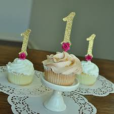 Amazon Pink And Gold 1st Birthday Decorations Floral Number 1 Cupcake Toppers 12CT Handmade