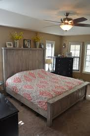 Rustic Bed Farmhouse King Size Weathered Grey By OnceWood