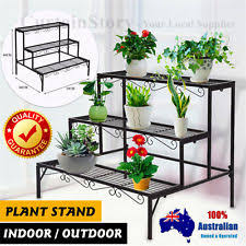 Indoor Outdoor Garden Metal Planter Flower Pots Stand 3 Tier Rack Shelves Black