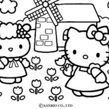 HELLO KITTY And Pets Picking The Flowers Coloring Page